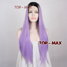 28 Inches Lace Front Wig Heat Resistant Women Black Mixed Light Purple Hair