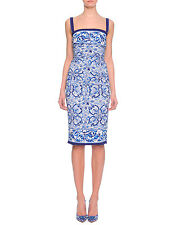 NWT DOLCE&GABBANA Tile Majolika Silk Ruched Dress 48/12