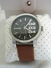 DIESEL WATCH DOUBLE DOWN DZ1513 BLACK DIAL STAINLESS STEEL BROWN LEATHER BNIB