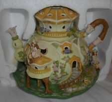 PartyLite FAIRYLAND TEALIGHT HOUSE Teapot Candle Holder w/Box