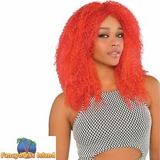 RED BIG HUGE LONG CRIMPED WIG 80's DISCO ladies womens fancy dress costume