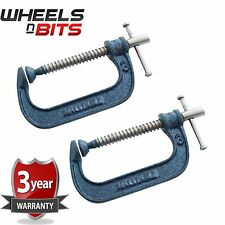 NEW 2x Heavy Duty G Clamp 3 Inch 75mm G-Clamps with Copper Screw with Swivel Pad