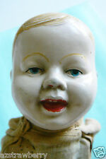 Antique Tin Metal Enamel Head & Hands Baby Doll box mechanical squeak Body Toy