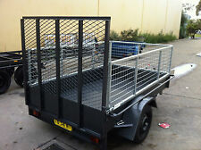 Box Trailer LED NEW 8X5FT + CAGE+ LOADING RAMP HEAVY DUTY ALSO 7X4 7X5 9X5 AVAIL
