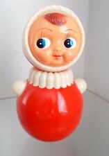 Vintage Russian Nevalyashka Celluloid Plastic Roly Poly Toy Doll BIG EYES Doll