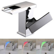 LED RGB Waterfall Chrome Single Lever No Battery Sink Basin Mixer Tap New