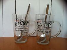 Latte Macchiato Gläser 2 Stück mit Löffel ENJOY YOUR COFFEE
