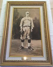 """Lou Gehrig """"The Columbia Days"""" 95 Original Oil Painting Framed! Nancy White MINT"""