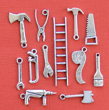 Tool Charm Collection 12 Tibetan Silver Tone Charms FREE Shipping E43