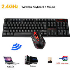 Ergonomic Backlit 2.4G Wireless Gaming Tastatur+ Funkmaus Maus Set Für PC Schw