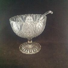 Davidson Glass England William & Mary Open Compote Comport With Spoon EAPG