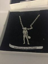 Tennis Player PP-SP03 Emblem Silver Platinum Plated Necklace 18""