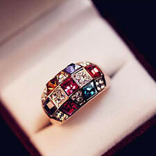 Fashion Shinny Colorful Crystal Rhinestone Golden Finger Rings Lady Jewelry Gift