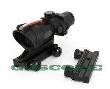 Combat Real Optic Fiber 4x32 Red Crosshair Sight Scope w/ 11/20mm Airsoft