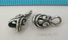 2x BALI STERLING SILVER FLOWER LEATHER CORD 4mm DOME END CAP CONNECTOR #1367