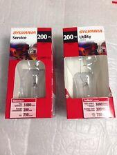 200A/CL 200 Watt A21 Clear Incandescent Light Bulb Sylvania USA # 15476 2-pcs