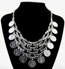 Hot Fashion Boho Style Silver Coins Multilayer Belly Dance Statement Necklace