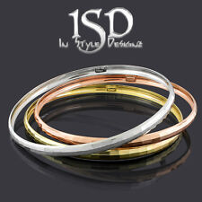 10k Gold Womens Fancy Hammered Style Bangle Bracelets White Yellow Rose Gold