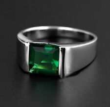 Size 10 NICE Mens Jewelry 925 Silver Square Green Emerald Band Ring NOT Fade