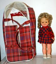 Vintage Vinyl Doll and Plaid Plastic Vinyl Doll Carrier - Very Retro