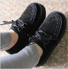 Lady Women Trendy Lace Up High Platform Creepers Flats Ankle Shoes Boots