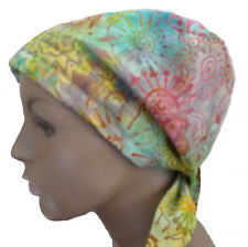 Colorful Batik Hand Dyed Cancer Chemo Hair Loss Scarf Turban Headwrap Calypso 42