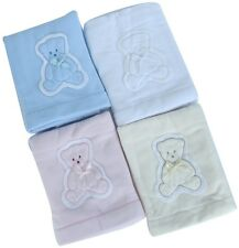 *New* Soft Luxury Baby Applique Wrap / Blanket with Embroidered Blue Bear