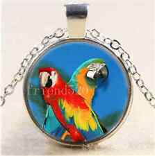 Two Parrot Bird Photo Cabochon Glass Tibet Silver Chain Pendant Necklace