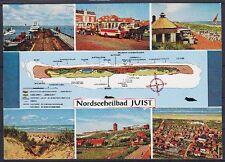 Tolle AK Juist mit Landkarte 1976, Hafen, Panorama, Promenade, gel.