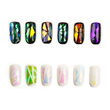 3D Effects Foil Galaxy Nail Stickers Paper Colorful Broken Glasses For Nail Arts