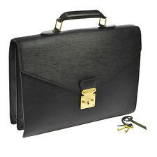 AUTH LOUIS VUITTON SERVIETTE CONSEILLER BRIEFCASE HAND BAG BLACK EPI 16293js A