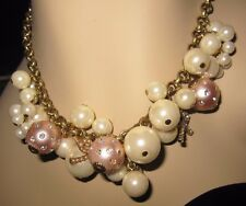 BETSEY JOHNSON FAUX PINKISH AND WHITE PEARLS WITH A LITTLE BLING NECKLACE