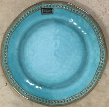Cynthia Rowley Teal Rustic Hobnail MELAMINE Dinner Plates Set Of 2