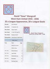 Dave Mangnall west ham united 1935-1936 très rare original signé coupe/carte