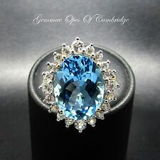 9ct Gold Oval cut Swiss Blue Topaz & White Sapphire Cluster Ring Size N 1/2 5.2g