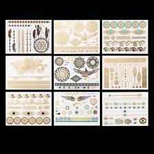 9 PCS Water Transfer Temporary Metallic Flash Tattoo Body Art Tattoos Stickers