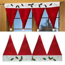 Christmas Santa Xmas Red Hat Window Valance Curtain Banner Pennant Home Decor