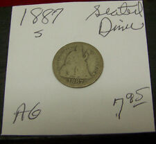1887 S   Liberty Seated Dime-ABOUT GOOD