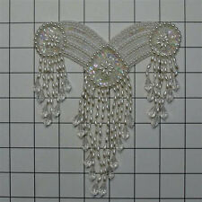 YOKE NECKLINE SEQUIN PEARL BRIDAL BELLY DANCE BEADED APPLIQUE 2703-X