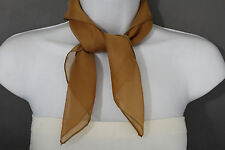 New Women Fashion Neck Scarf Mustard Brown Small Soft Fabric Square Pocket Sheer