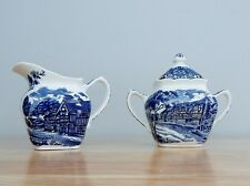 Grindley Staffordshire English Country Inns Creamer & Sugar Bowl EXCELLENT