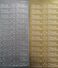 2 sheets of Merry Christmas Peel-offs  Gold and Silver