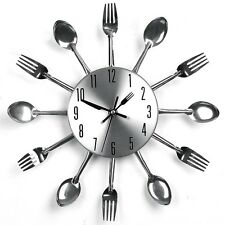 Modern Design Cutlery Kitchen Utensil Wall Clock Spoon Fork Clock Sliver