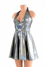 EXTRA SMALL Silver Holographic Halter Skater Dress Rave Festival Ready To Ship!