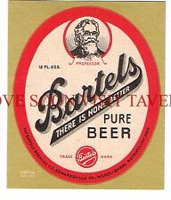 Unused 1950s Wilkes Barre Bartels Beer Label Tavern Trove Pennsylvania