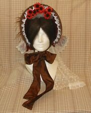 Smashing!! Repro Civil War Era Lady's Paprika Cloth Bonnet with Detachable Veil!