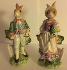 FITZ AND FLOYD OLD WORLD RABBIT COLLECTION SALT AND PEPPER SET