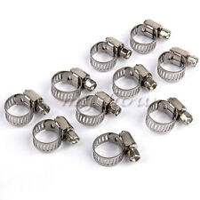 10Pcs  Stainless steel Worm Fuel Line Hose Clips Clamp Diesel Petrol Pipe 8-12mm