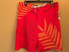 Sonoma Stretch Swim Shorts Red/Orange, Size XL, Msrp $42, NWT!