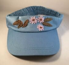 NWOT Maggie Sweet Visor Embroidered Flowers 100% Cotton Garden Golf